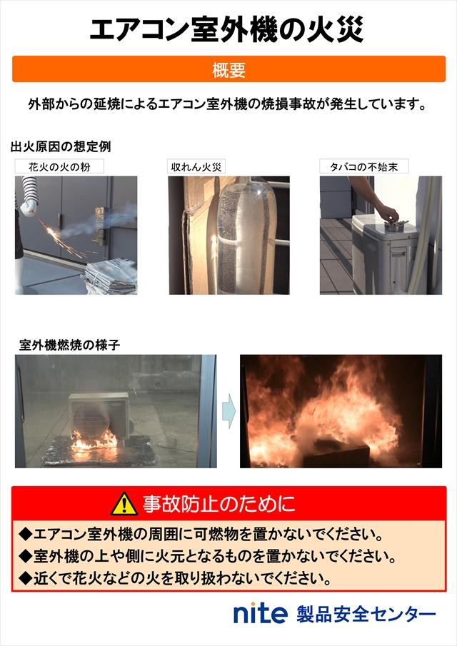 エアコン室外機の火災